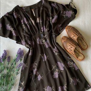 Free People | Black floral mini dress size 8